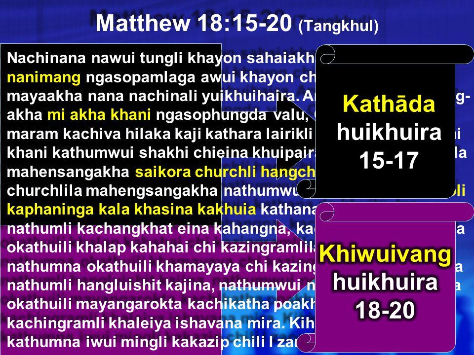 Matthew 18 1 Nao ākha (1-9) 1 Yao ākha (10-14) 1 Morei kaphungnao ākha (15-20) 1 Leiman kazangnao ākha (21-35) 34a Ningrin