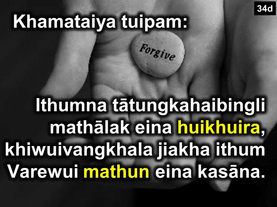 Matthew 18:20 Kihkhalajila mi khani kathumna iwui mingli kakazip chili I zangda lei (Tangkhul).