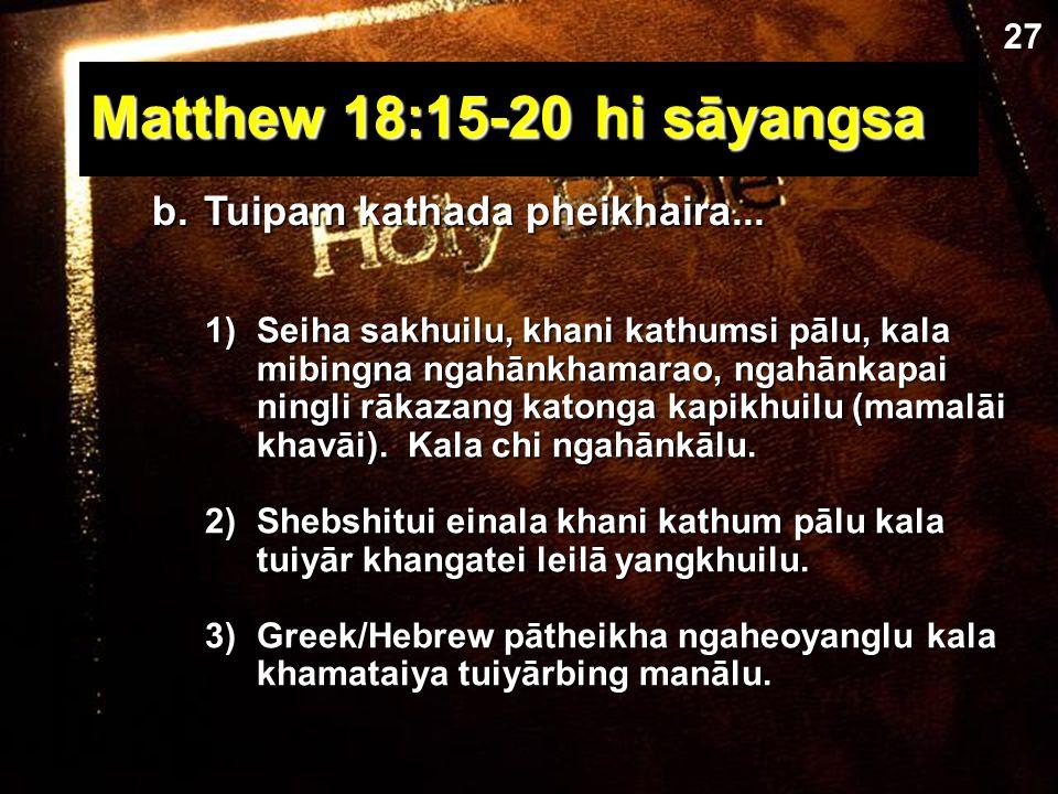 1. Tuipam kapā kala khamachuk a)Greek / Hebrew commentaries ngasanlu (pāthei akha!).