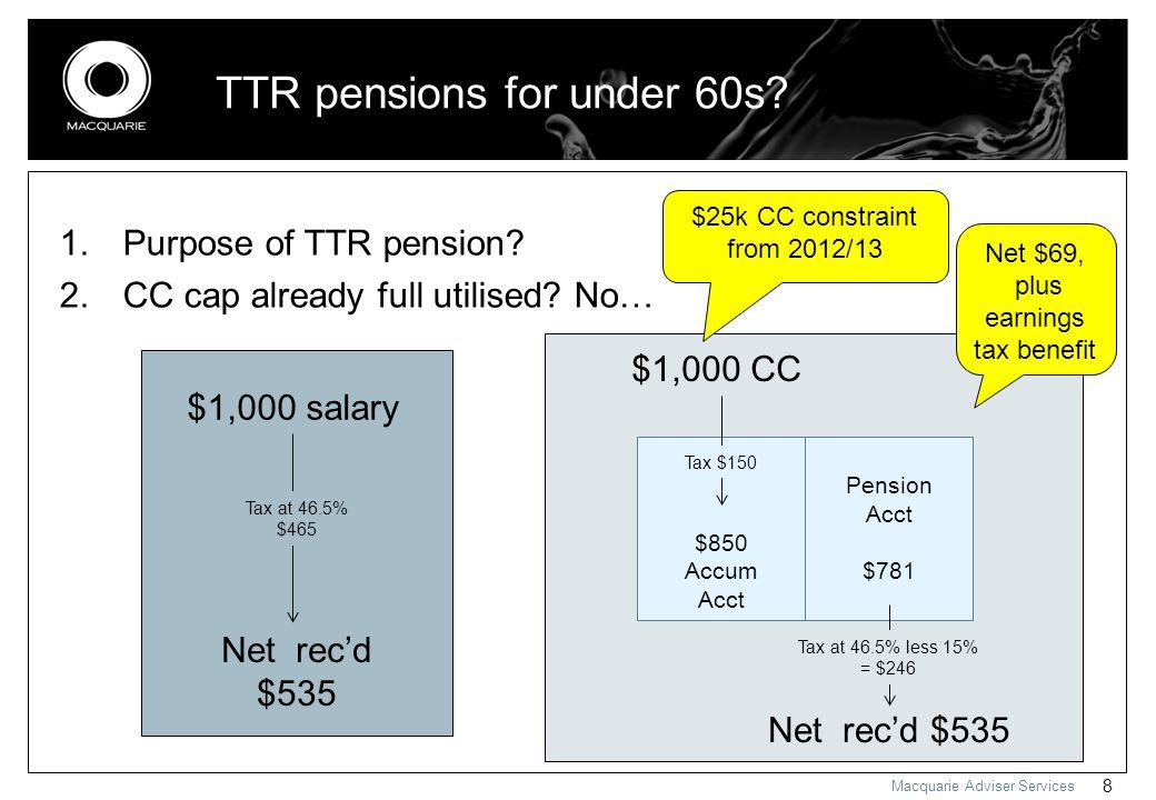 Macquarie Adviser Services 8 1. Purpose of TTR pension.