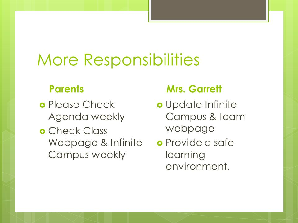More Responsibilities Parents  Please Check Agenda weekly  Check Class Webpage & Infinite Campus weekly Mrs.