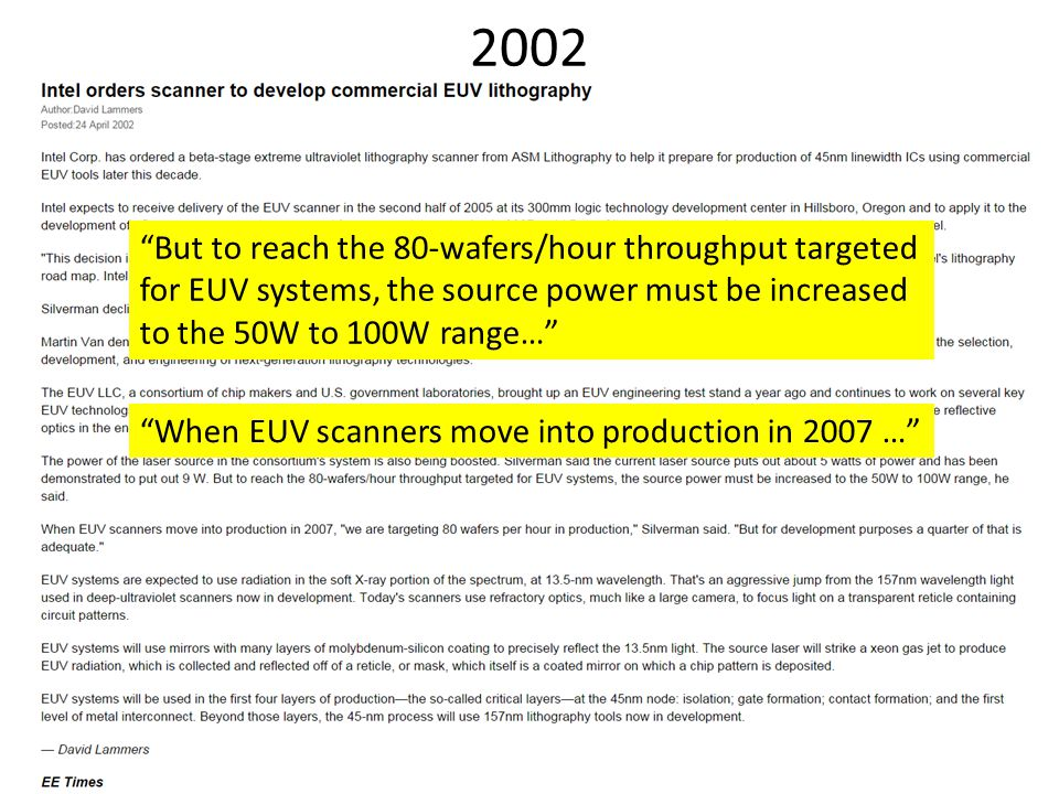 """2002 """"When EUV scanners move into production in 2007 …"""" """"But to reach the 80-wafers/hour throughput targeted for EUV systems, the source power must be"""