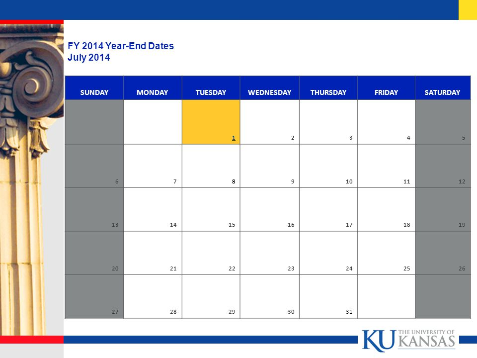SUNDAYMONDAYTUESDAYWEDNESDAYTHURSDAYFRIDAYSATURDAY FY 2014 Year-End Dates July 2014