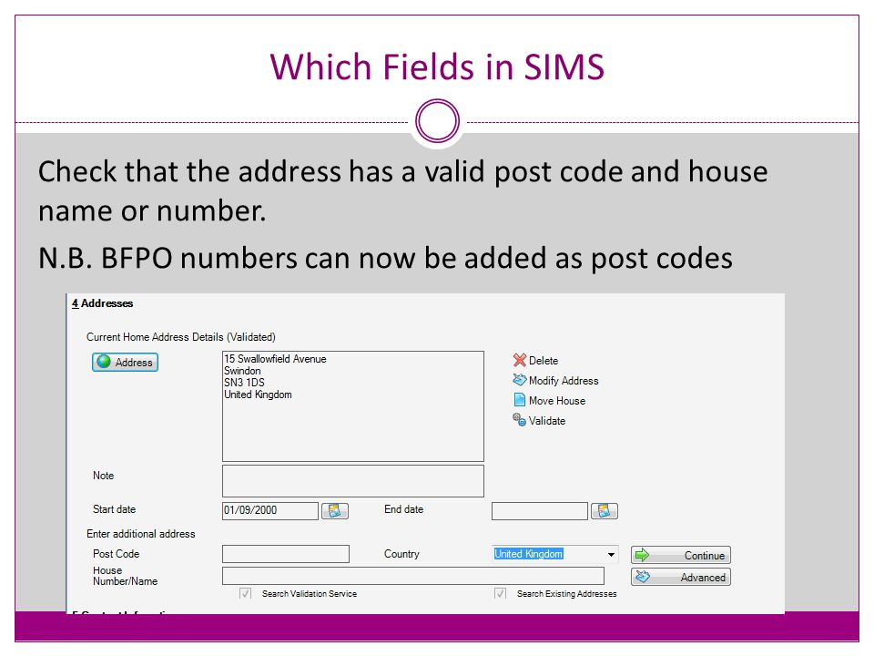 Which Fields in SIMS - Personal The following slides show the necessary fields in blue.