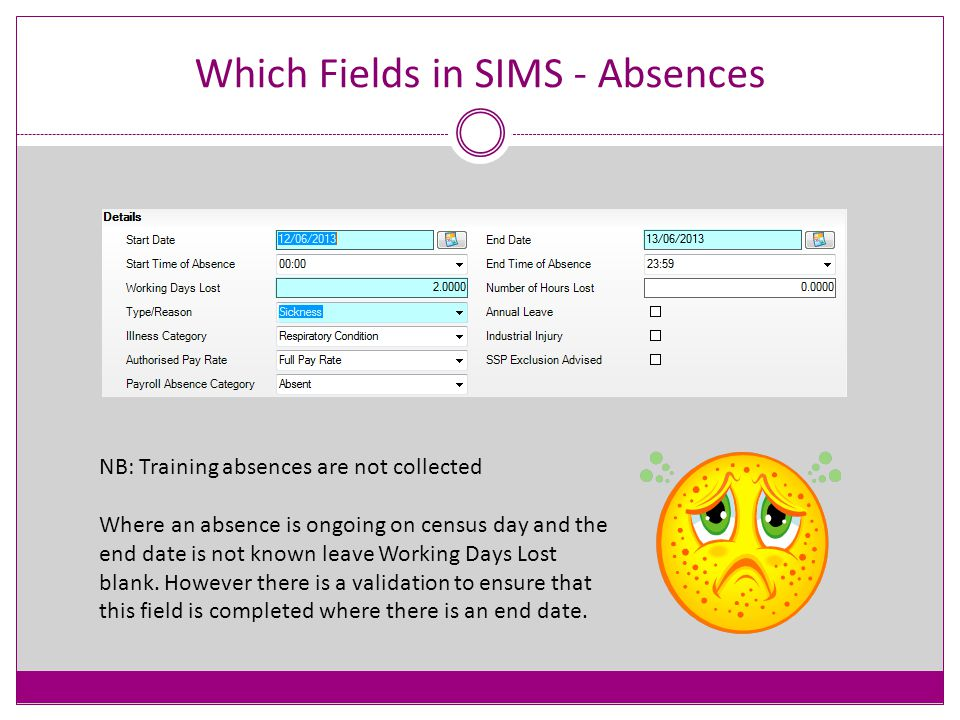 Which Fields in SIMS Check that the address has a valid post code and house name or number.