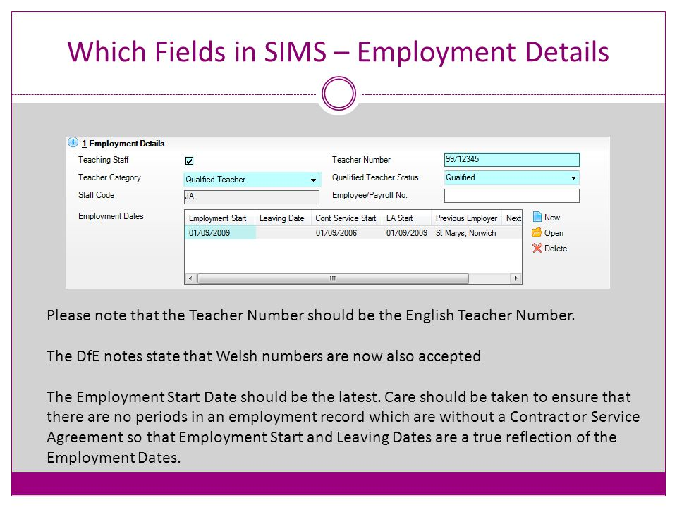 Which Fields in SIMS Employment Details Tab