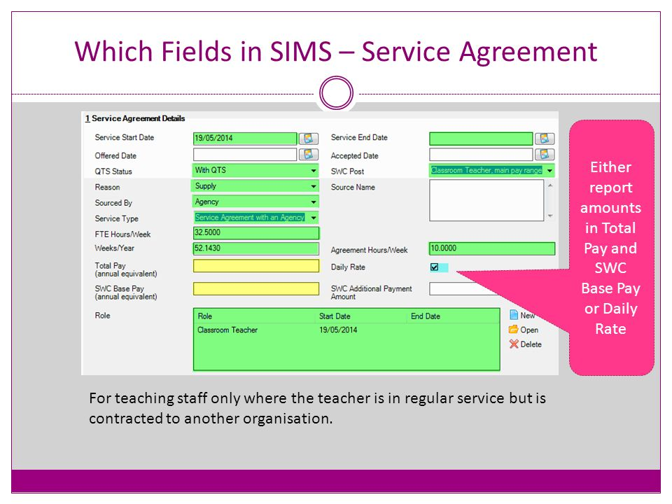 Which Fields in SIMS - Role Each Contract and Service Agreement must have at least one Role