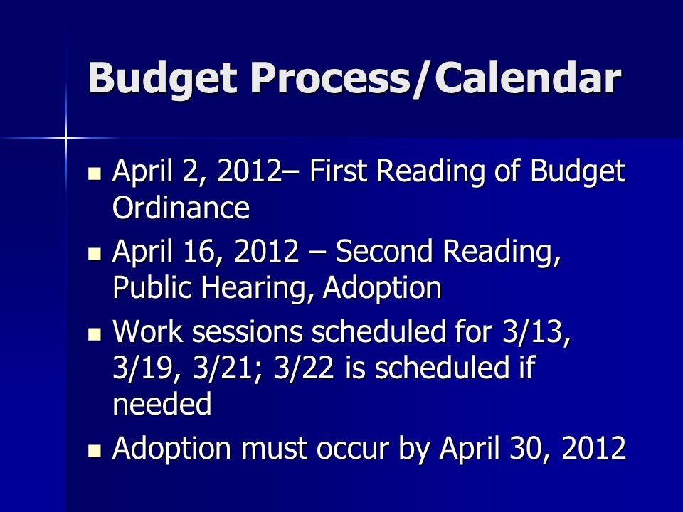 Budget Process/Calendar April 2, 2012– First Reading of Budget Ordinance April 2, 2012– First Reading of Budget Ordinance April 16, 2012 – Second Reading, Public Hearing, Adoption April 16, 2012 – Second Reading, Public Hearing, Adoption Work sessions scheduled for 3/13, 3/19, 3/21; 3/22 is scheduled if needed Work sessions scheduled for 3/13, 3/19, 3/21; 3/22 is scheduled if needed Adoption must occur by April 30, 2012 Adoption must occur by April 30, 2012