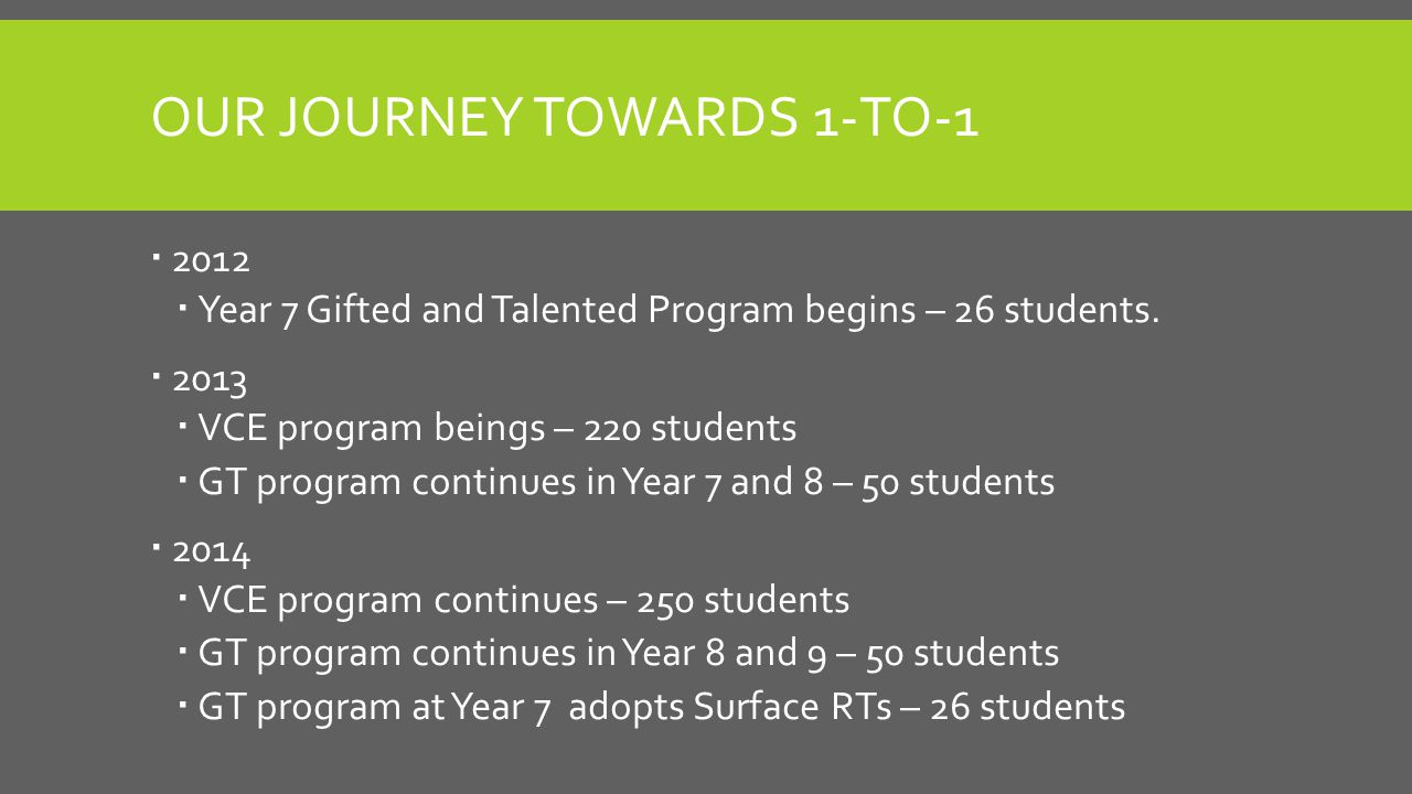 OUR JOURNEY TOWARDS 1-TO-1  2012  Year 7 Gifted and Talented Program begins – 26 students.