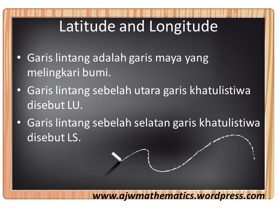 Latitude and Longitude Garis lintang adalah garis maya yang melingkari bumi.