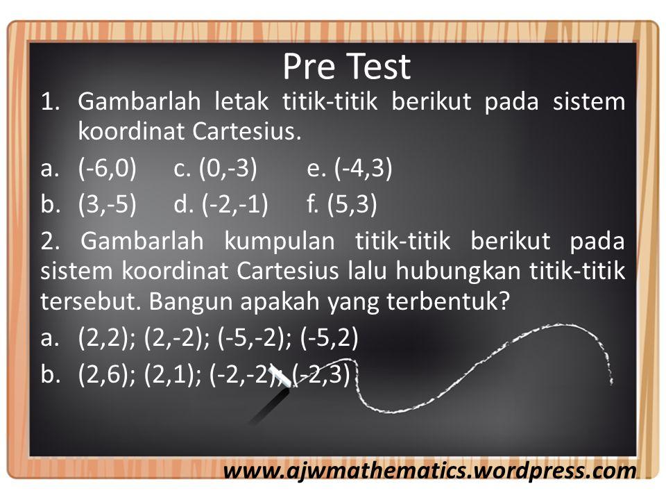 Pre Test 1.Gambarlah letak titik-titik berikut pada sistem koordinat Cartesius.