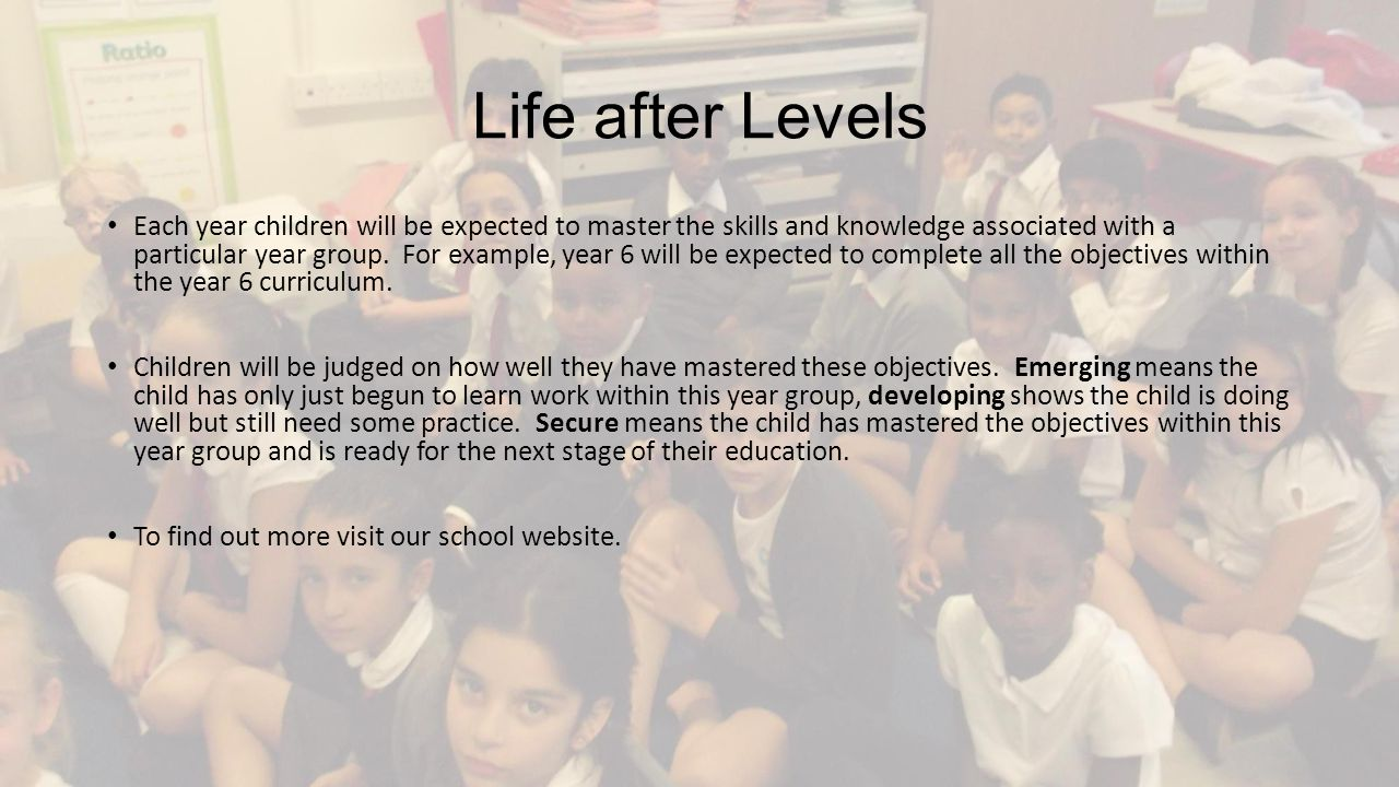Life after Levels Each year children will be expected to master the skills and knowledge associated with a particular year group.