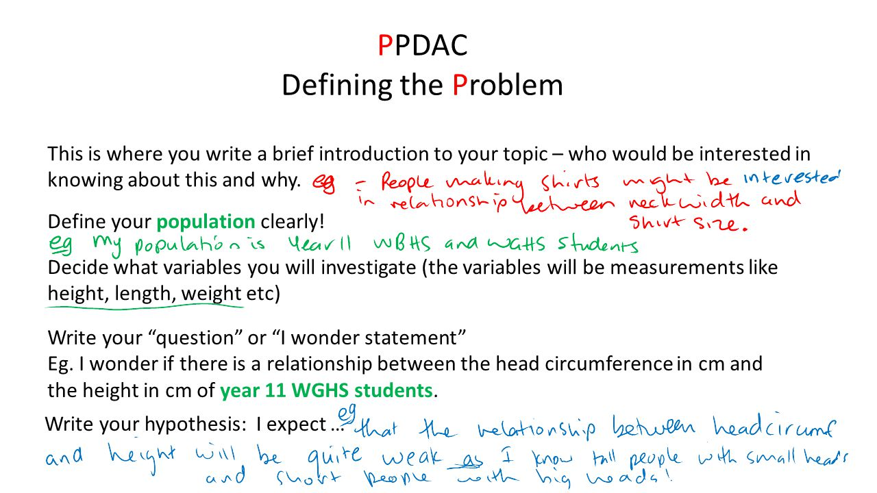 "PPDAC Defining the Problem Write your ""question"" or ""I wonder statement"" Eg. I wonder if there is a relationship between the head circumference in cm"