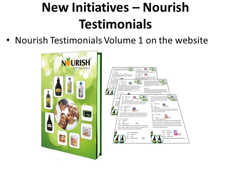 Nourish Testimonials Volume 1 on the website New Initiatives – Nourish Testimonials