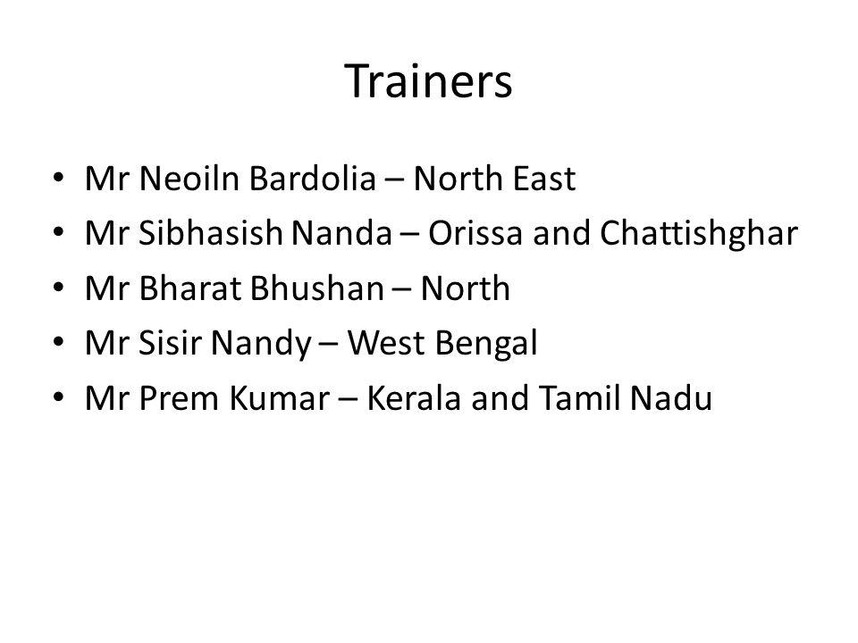 Trainers Mr Neoiln Bardolia – North East Mr Sibhasish Nanda – Orissa and Chattishghar Mr Bharat Bhushan – North Mr Sisir Nandy – West Bengal Mr Prem Kumar – Kerala and Tamil Nadu