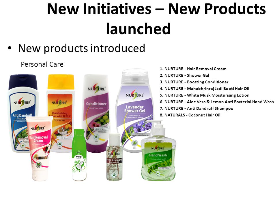 New products introduced Personal Care New New Initiatives – New Products launched 1. NURTURE - Hair Removal Cream 2. NURTURE - Shower Gel 3. NURTURE -