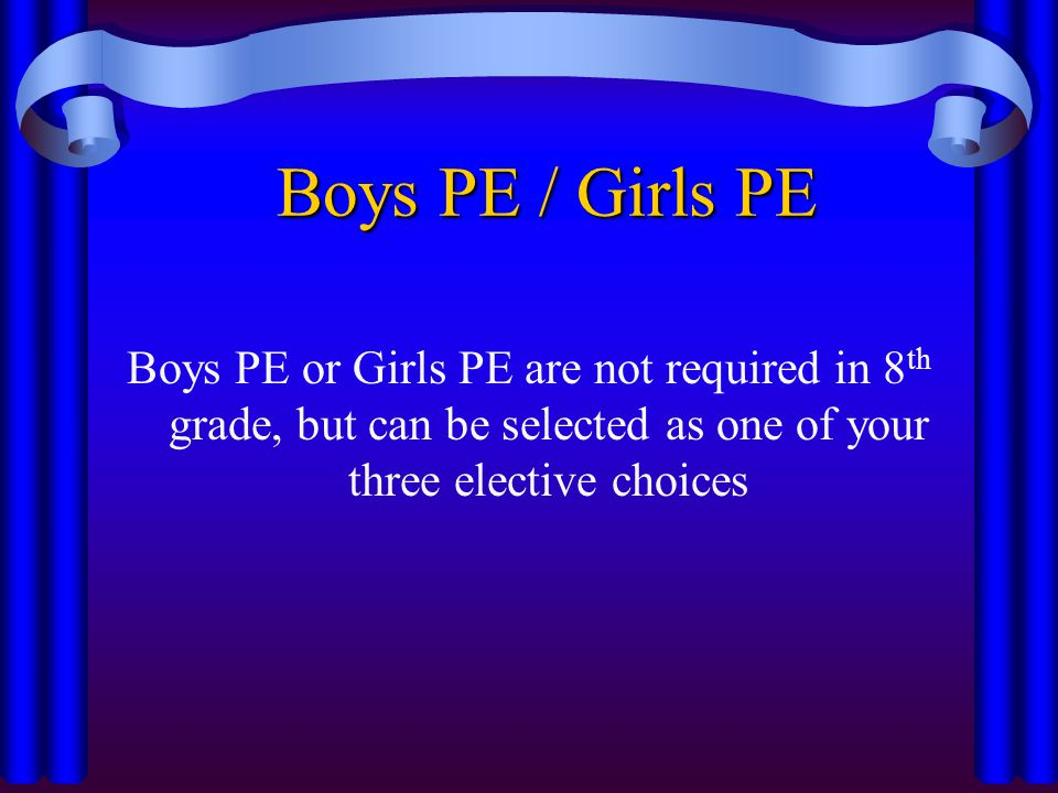 Boys PE / Girls PE Boys PE or Girls PE are not required in 8 th grade, but can be selected as one of your three elective choices
