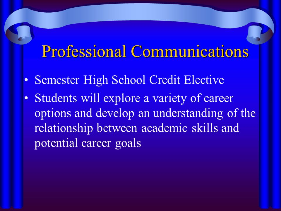 Professional Communications Semester High School Credit Elective Students will explore a variety of career options and develop an understanding of the relationship between academic skills and potential career goals