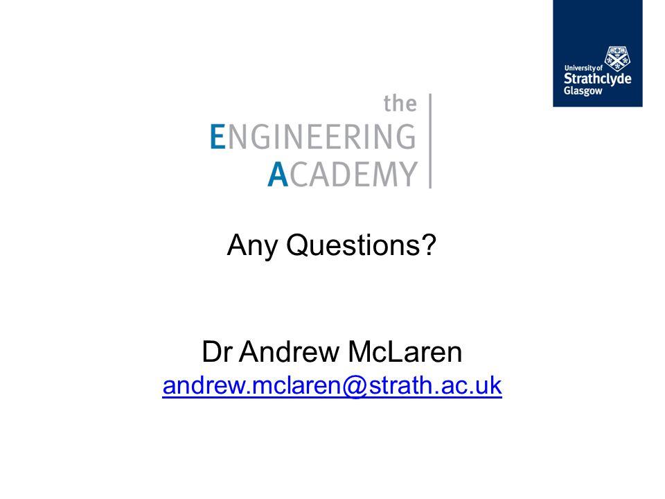 Any Questions? Dr Andrew McLaren andrew.mclaren@strath.ac.uk andrew.mclaren@strath.ac.uk
