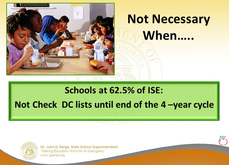 """Dr. John D. Barge, State School Superintendent """"Making Education Work for All Georgians"""" www.gadoe.org Not Necessary When….. Schools at 62.5% of ISE:"""