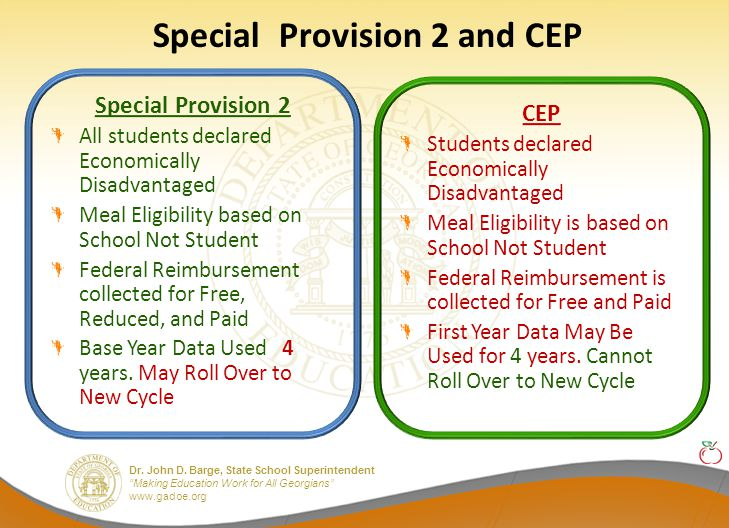 """Dr. John D. Barge, State School Superintendent """"Making Education Work for All Georgians"""" www.gadoe.org Special Provision 2 and CEP Special Provision 2"""