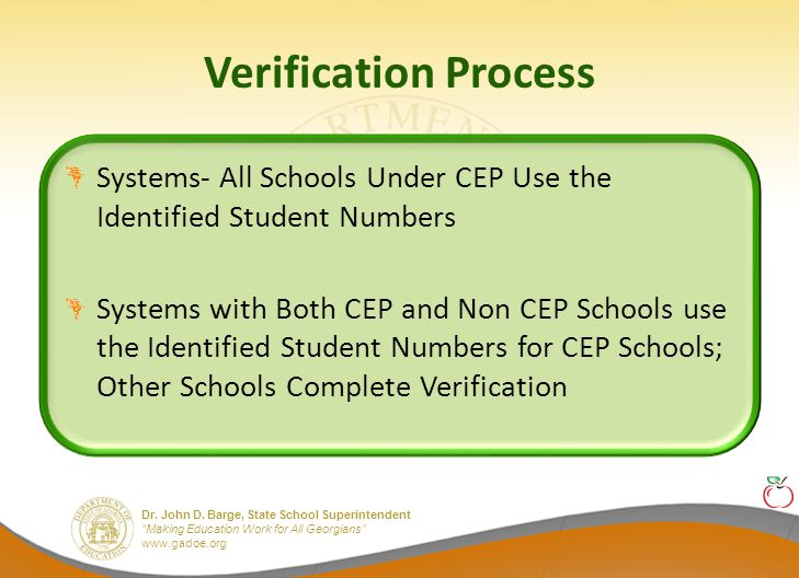 """Dr. John D. Barge, State School Superintendent """"Making Education Work for All Georgians"""" www.gadoe.org Verification Process Systems- All Schools Under"""