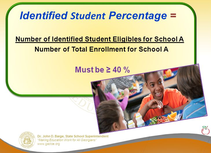 """Dr. John D. Barge, State School Superintendent """"Making Education Work for All Georgians"""" www.gadoe.org Identified Student Percentage = Number of Ident"""