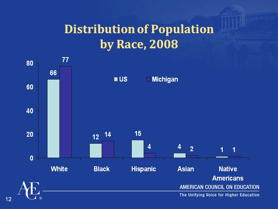 12 Distribution of Population by Race, 2008