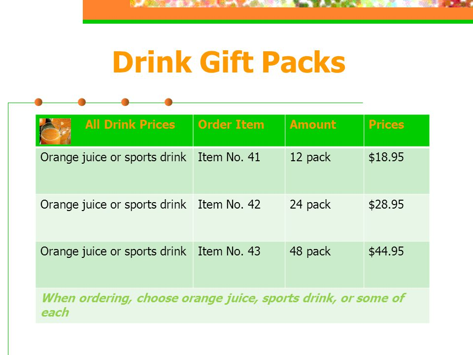 Drink Gift Packs All Drink PricesOrder ItemAmountPrices Orange juice or sports drinkItem No.