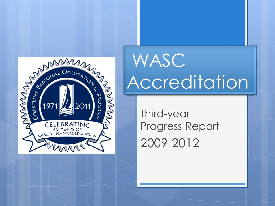 Accreditation Cycle  Full self-study in 2008-2009  6-year clear  Accreditation through 2015  No interim visit  Third-year written progress report required