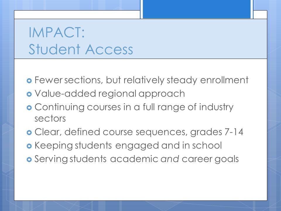 IMPACT: Student Access  Fewer sections, but relatively steady enrollment  Value-added regional approach  Continuing courses in a full range of industry sectors  Clear, defined course sequences, grades 7-14  Keeping students engaged and in school  Serving students academic and career goals