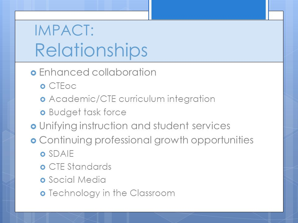 IMPACT: Relationships  Enhanced collaboration  CTEoc  Academic/CTE curriculum integration  Budget task force  Unifying instruction and student services  Continuing professional growth opportunities  SDAIE  CTE Standards  Social Media  Technology in the Classroom