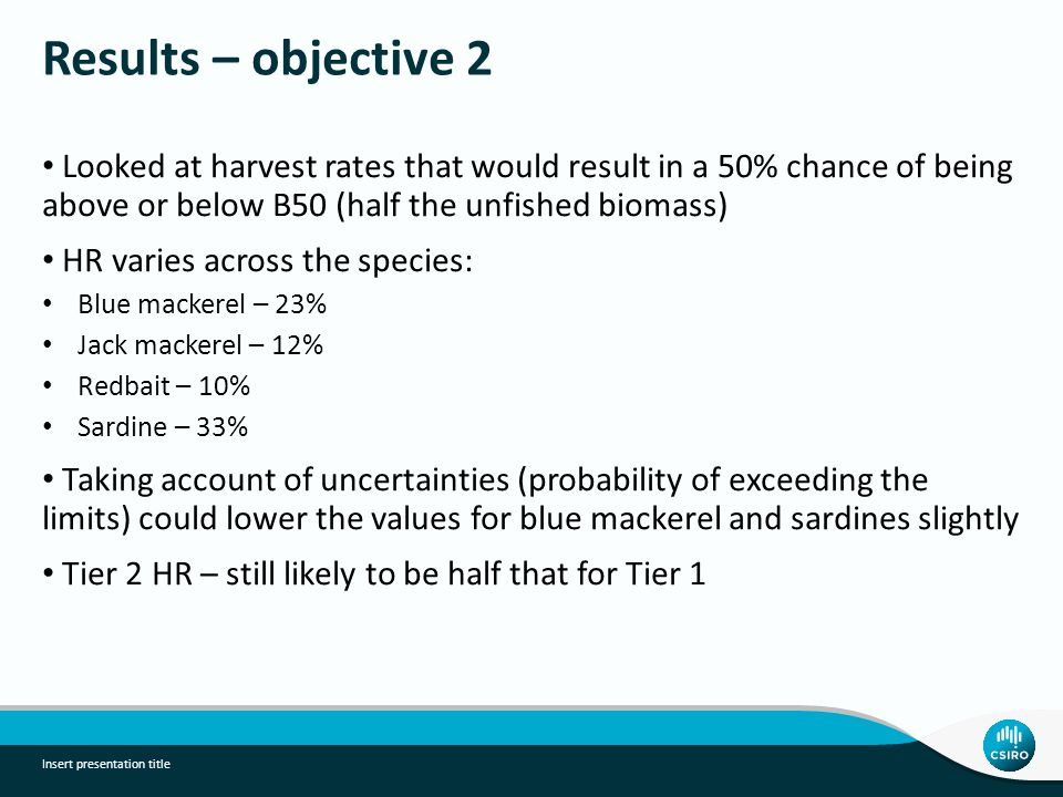 Results – objective 2 Looked at harvest rates that would result in a 50% chance of being above or below B50 (half the unfished biomass) HR varies across the species: Blue mackerel – 23% Jack mackerel – 12% Redbait – 10% Sardine – 33% Taking account of uncertainties (probability of exceeding the limits) could lower the values for blue mackerel and sardines slightly Tier 2 HR – still likely to be half that for Tier 1 Insert presentation title