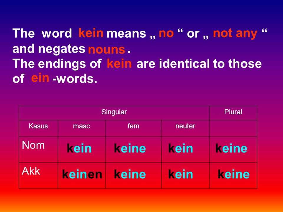 "The word means "" or "" and negates. The endings of are identical to those of -words."