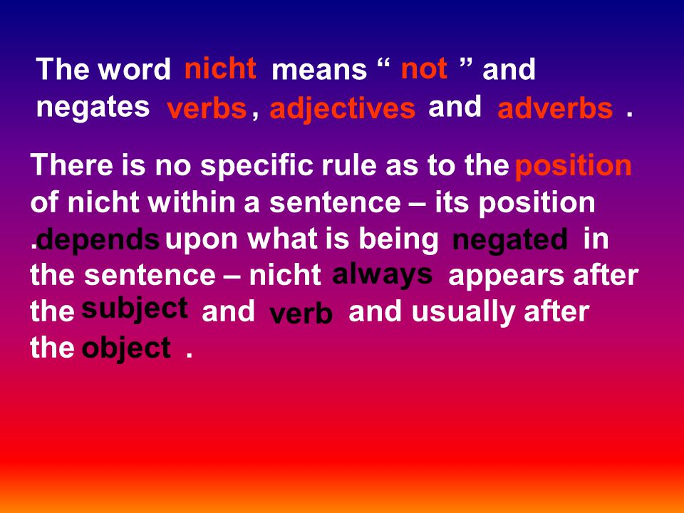 The word means and negates, and.