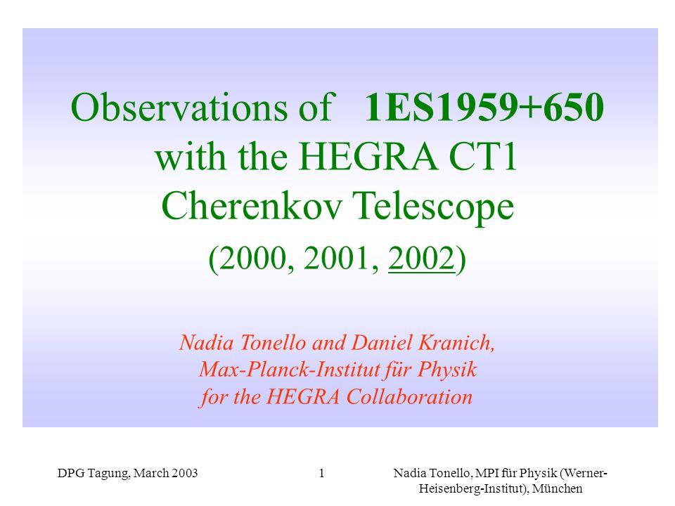 DPG Tagung, March 2003Nadia Tonello, MPI für Physik (Werner- Heisenberg-Institut), München 1 Observations of 1ES1959+650 with the HEGRA CT1 Cherenkov