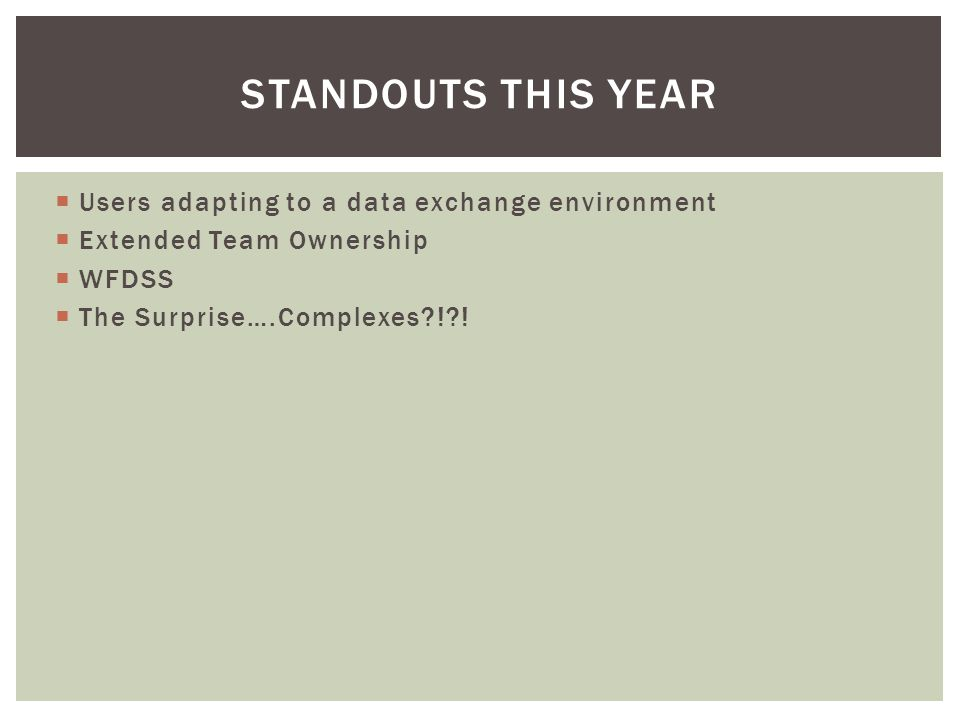  Users adapting to a data exchange environment  Extended Team Ownership  WFDSS  The Surprise….Complexes ! .