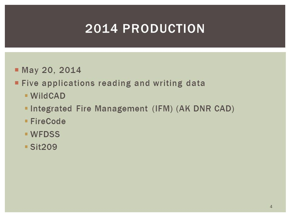  May 20, 2014  Five applications reading and writing data  WildCAD  Integrated Fire Management (IFM) (AK DNR CAD)  FireCode  WFDSS  Sit209 4 2014 PRODUCTION