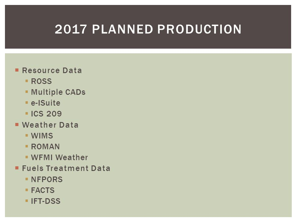  Resource Data  ROSS  Multiple CADs  e-ISuite  ICS 209  Weather Data  WIMS  ROMAN  WFMI Weather  Fuels Treatment Data  NFPORS  FACTS  IFT-DSS 2017 PLANNED PRODUCTION
