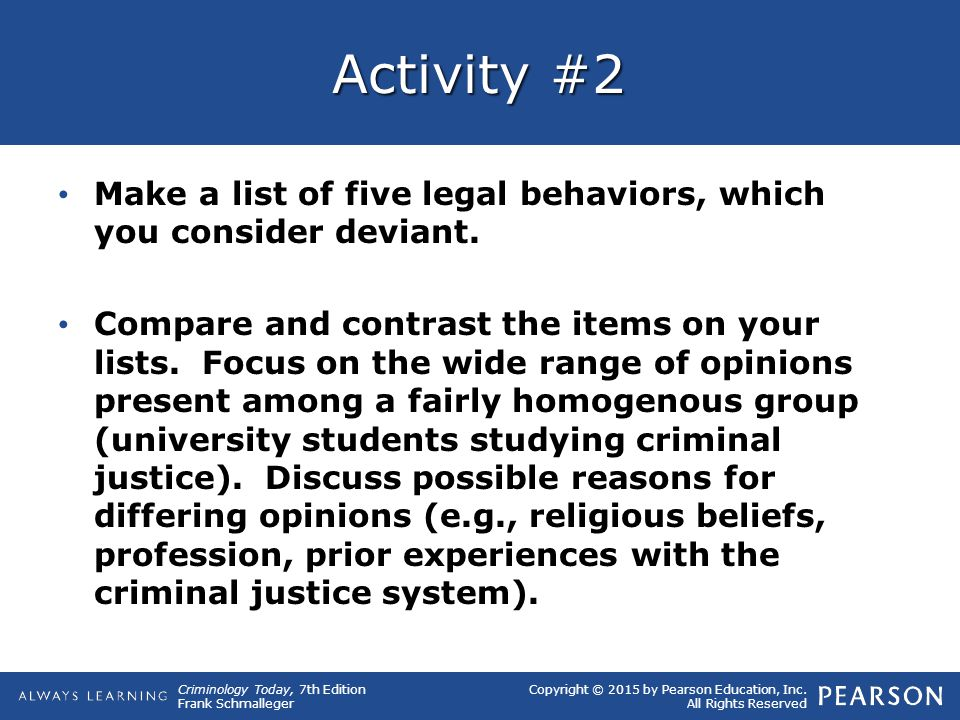 Copyright © 2015 by Pearson Education, Inc. All Rights Reserved Criminology Today, 7th Edition Frank Schmalleger Activity #2 Make a list of five legal