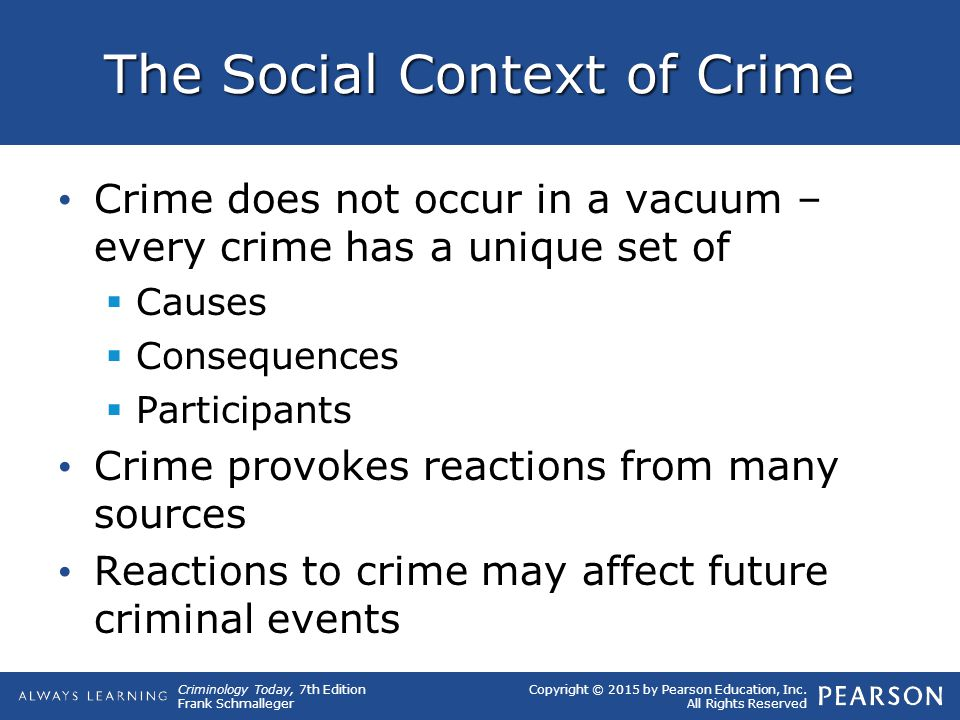 Copyright © 2015 by Pearson Education, Inc. All Rights Reserved Criminology Today, 7th Edition Frank Schmalleger The Social Context of Crime Crime doe