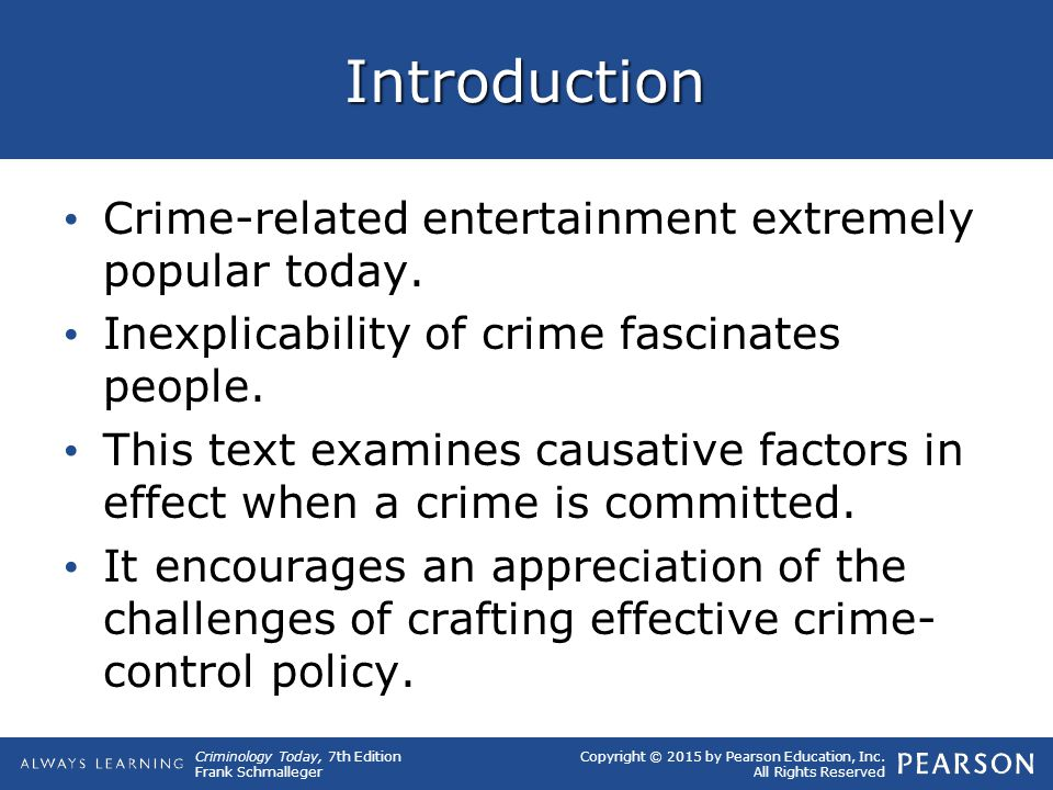 Copyright © 2015 by Pearson Education, Inc. All Rights Reserved Criminology Today, 7th Edition Frank Schmalleger Introduction Crime-related entertainm