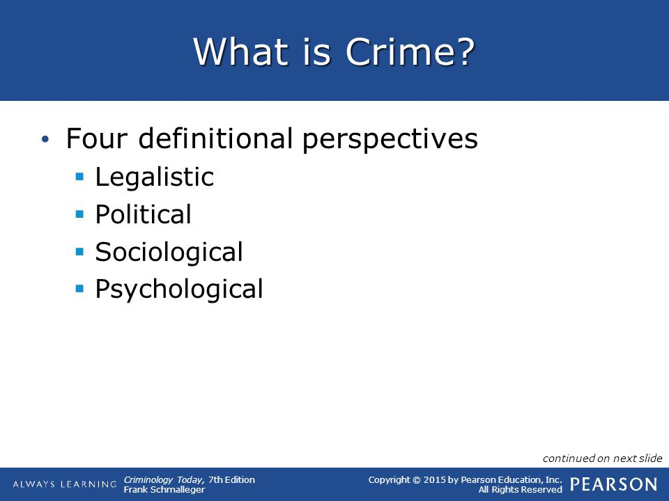 Copyright © 2015 by Pearson Education, Inc. All Rights Reserved Criminology Today, 7th Edition Frank Schmalleger What is Crime? Four definitional pers