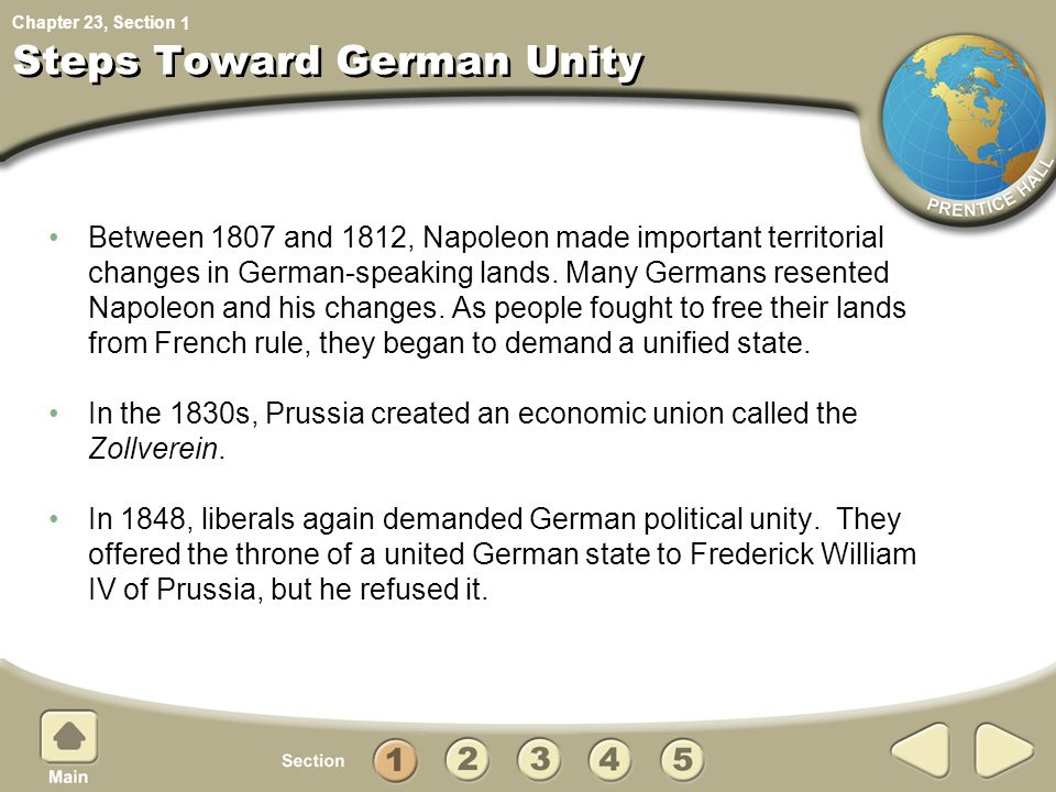 Chapter 23, Section How did Bismarck unify Germany.