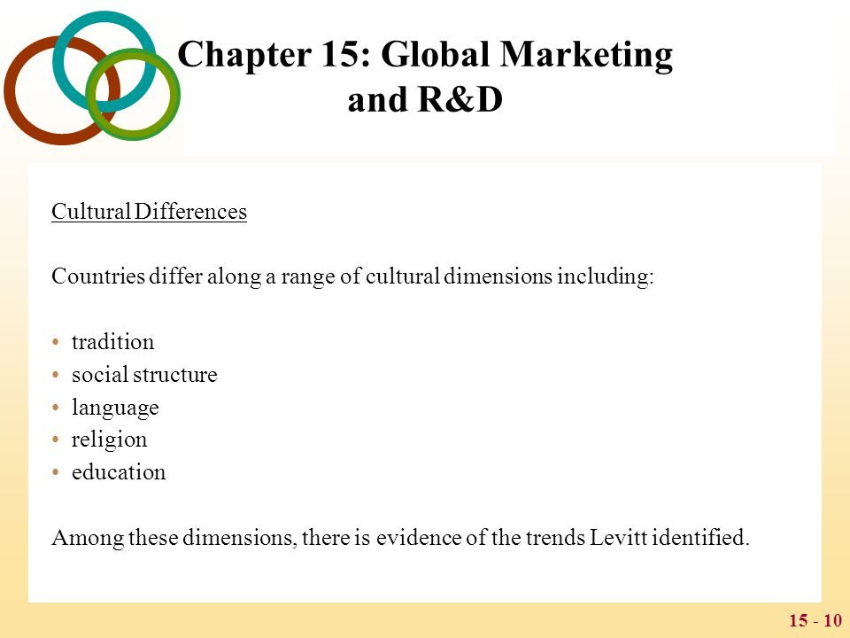 15 - 10 Chapter 15: Global Marketing and R&D Cultural Differences Countries differ along a range of cultural dimensions including: tradition social st