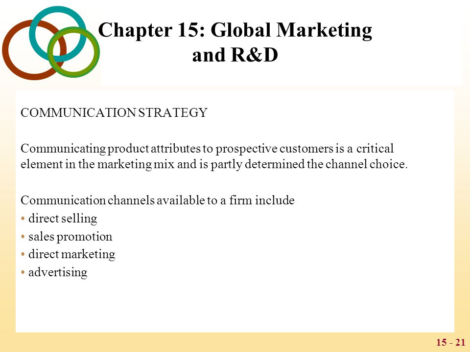 15 - 21 Chapter 15: Global Marketing and R&D COMMUNICATION STRATEGY Communicating product attributes to prospective customers is a critical element in