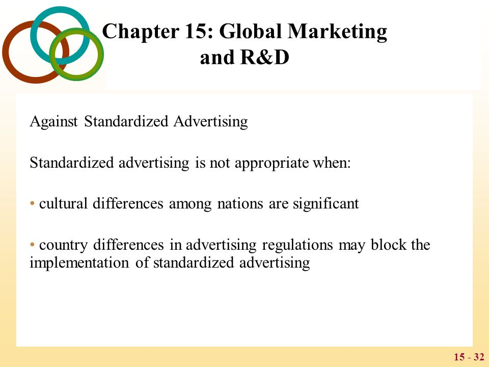 15 - 32 Chapter 15: Global Marketing and R&D Against Standardized Advertising Standardized advertising is not appropriate when: cultural differences a
