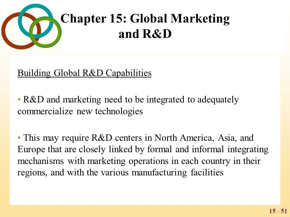 15 - 51 Chapter 15: Global Marketing and R&D Building Global R&D Capabilities R&D and marketing need to be integrated to adequately commercialize new