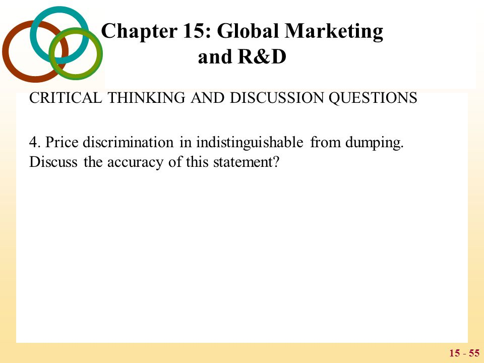 15 - 55 Chapter 15: Global Marketing and R&D CRITICAL THINKING AND DISCUSSION QUESTIONS 4. Price discrimination in indistinguishable from dumping. Dis