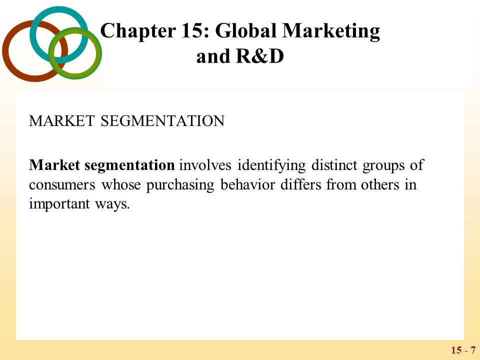 15 - 7 Chapter 15: Global Marketing and R&D MARKET SEGMENTATION Market segmentation involves identifying distinct groups of consumers whose purchasing